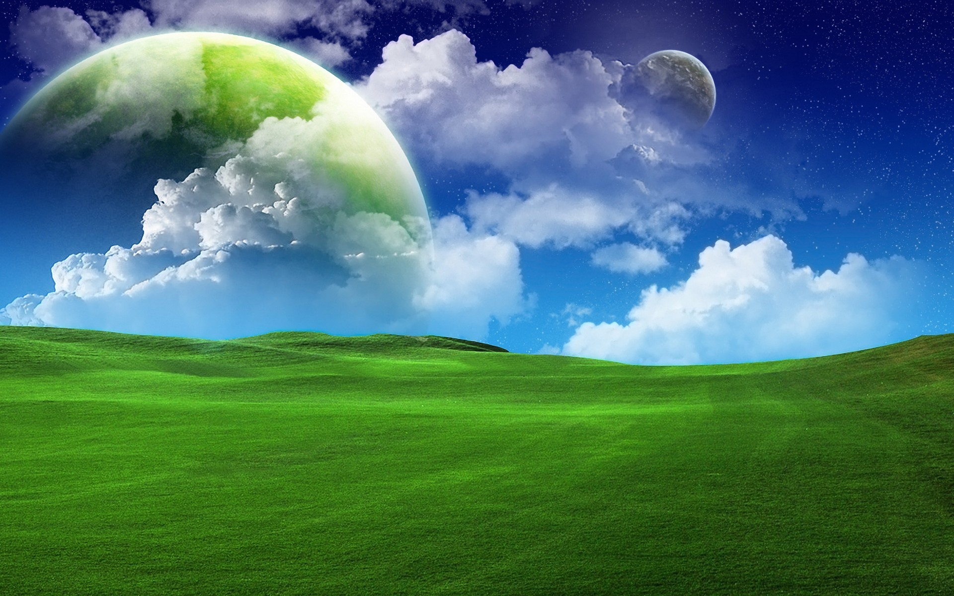 1920x1200 Green Field Planets Clouds Sky Desktop Pc And