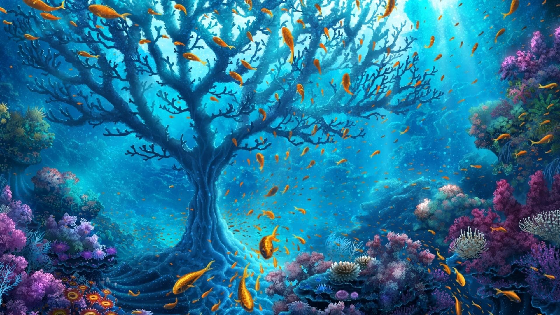 1920x1080 Underwater World Fantasy desktop PC and Mac wallpaper