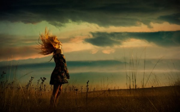 Windy Day Woman & Field wallpapers | Windy Day Woman ...
