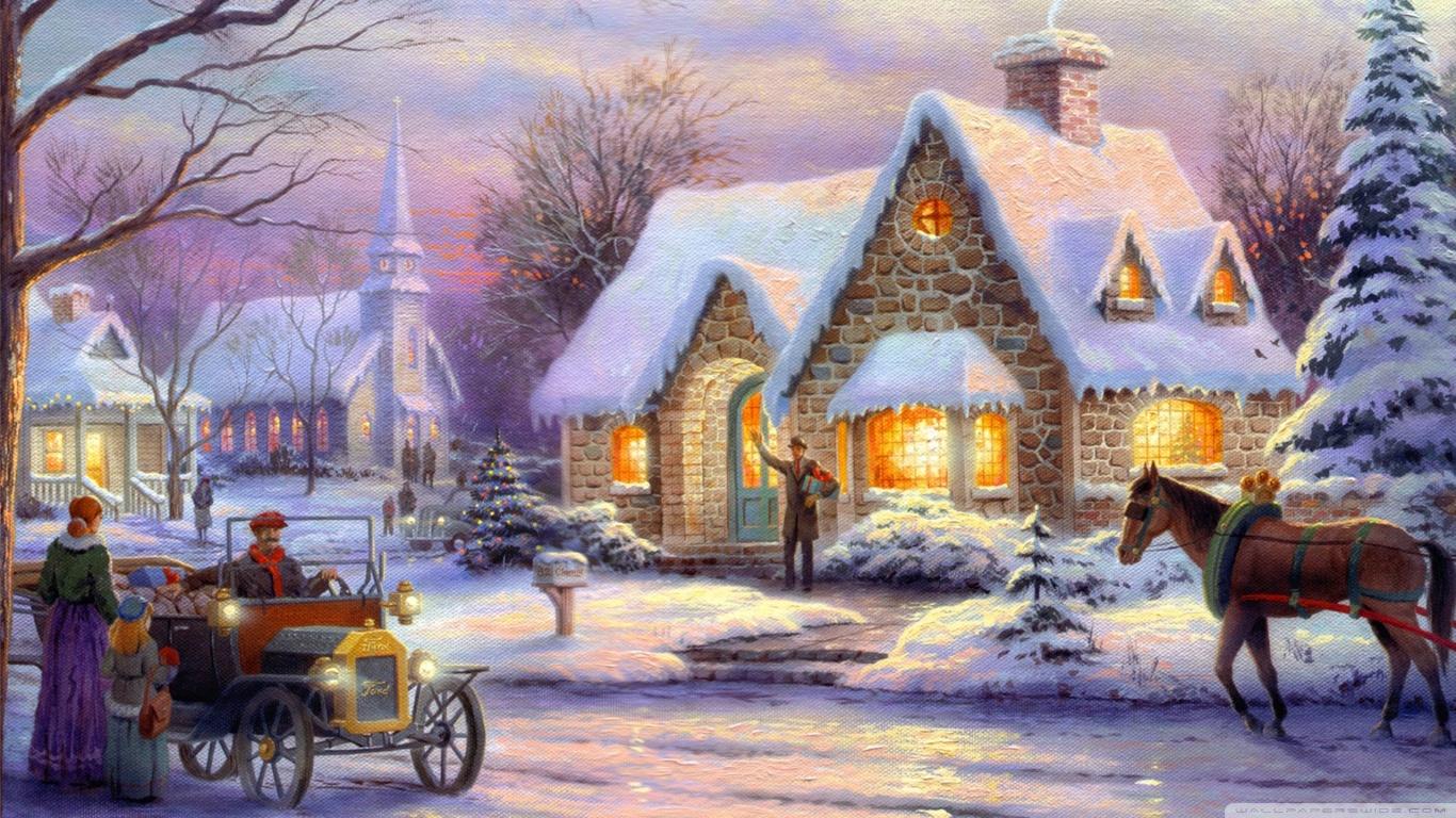 1024x768 Kinkade Christmas Thomas Desktop