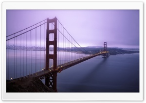 Violet Hour And Fog Surround The Golden Gate