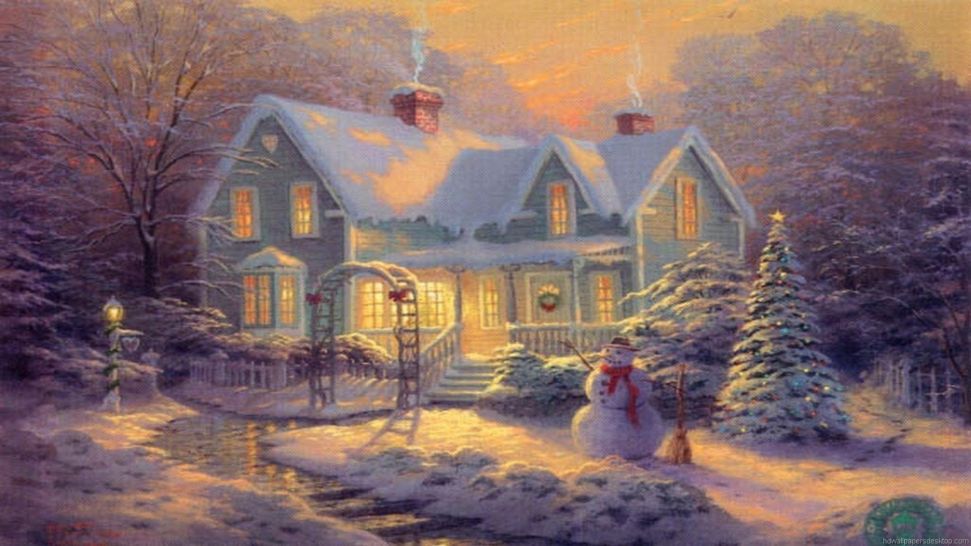 Thomas Kinkade Winter Wallpaper