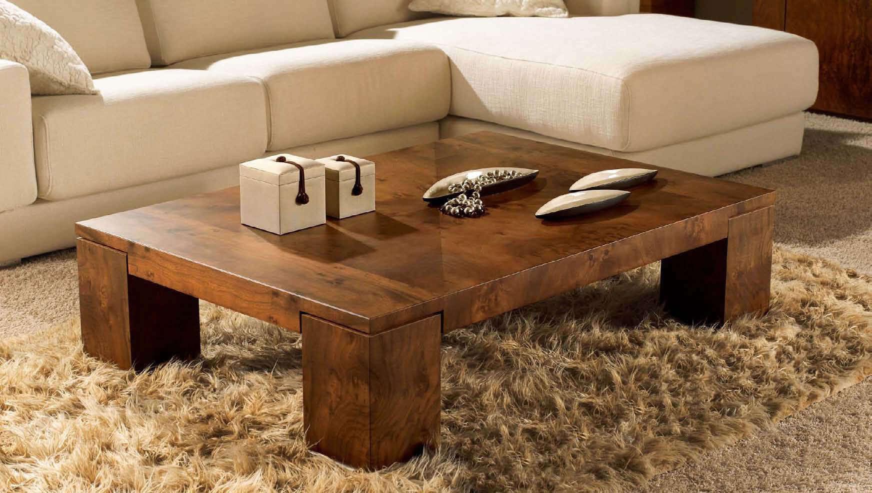 low rustic wood coffee table