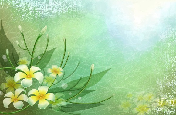 Beautiful 3D Abstract Vector Flower Green Wallpaper Free