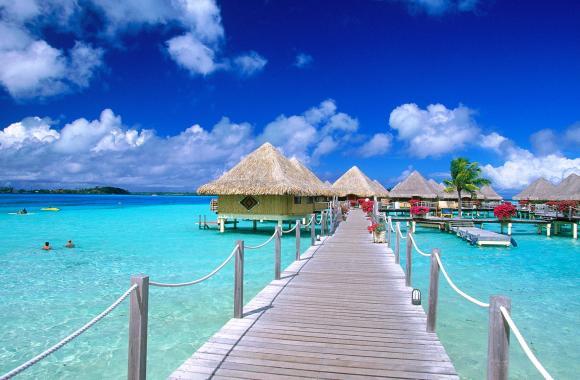 Beautiful Matira Point Bora Bora French Polynesia HD Wallpaper Photography
