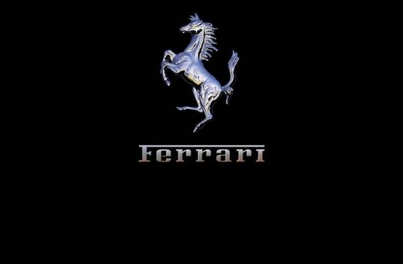 Ferrari Logo With Black Background Widescreen HD Wallpaper Picture