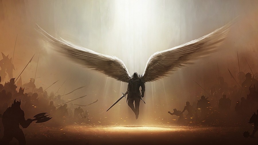 Great Art Of Angel Flying From The Sky HD Wallpaper Background Image