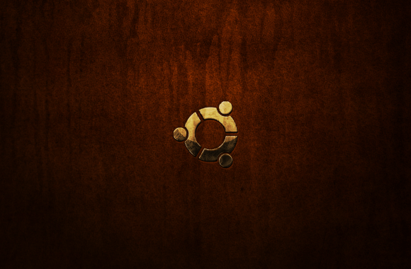 Linux Ubuntu Distro Logo Distressed Brown Leather HD Wallpaper For Desktop