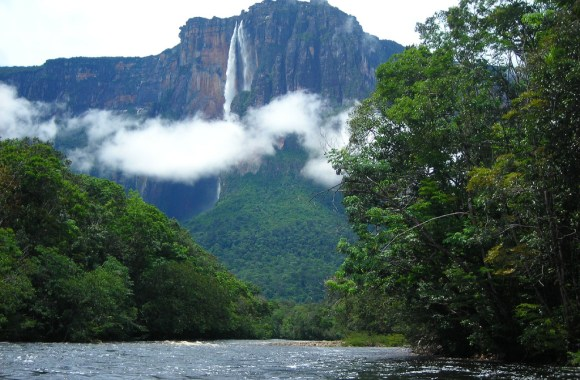 Beautiful Angel Waterfall In Venezuela HD Wallpaper Widescreen