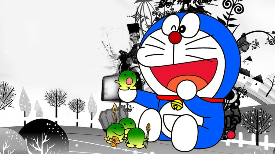 Funny Doraemon Cartoon Black White HD Wallpaper Image Picture