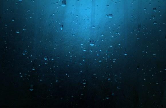 Water Droplets Scratched Blue Metal  HD Wallpaper