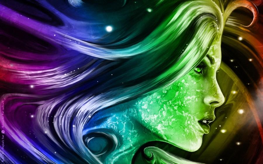 Rainbow woman abstract