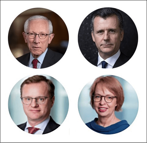 "BlackRock Authors of ""Going Direct."" Top, left to right: Stanley Fischer, Philipp Hildebrand. Bottom, left to right: Jean Boivin, Elga Bartsch."
