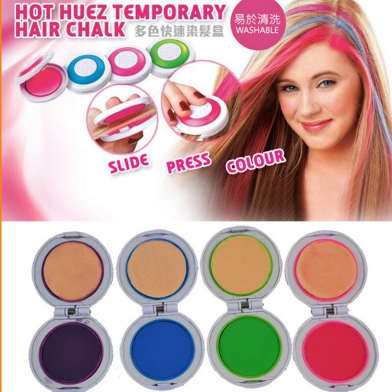 New Hot Sale Hair Chalk Powder 4 Colors Round Shape Temporary Ideas With Pictures