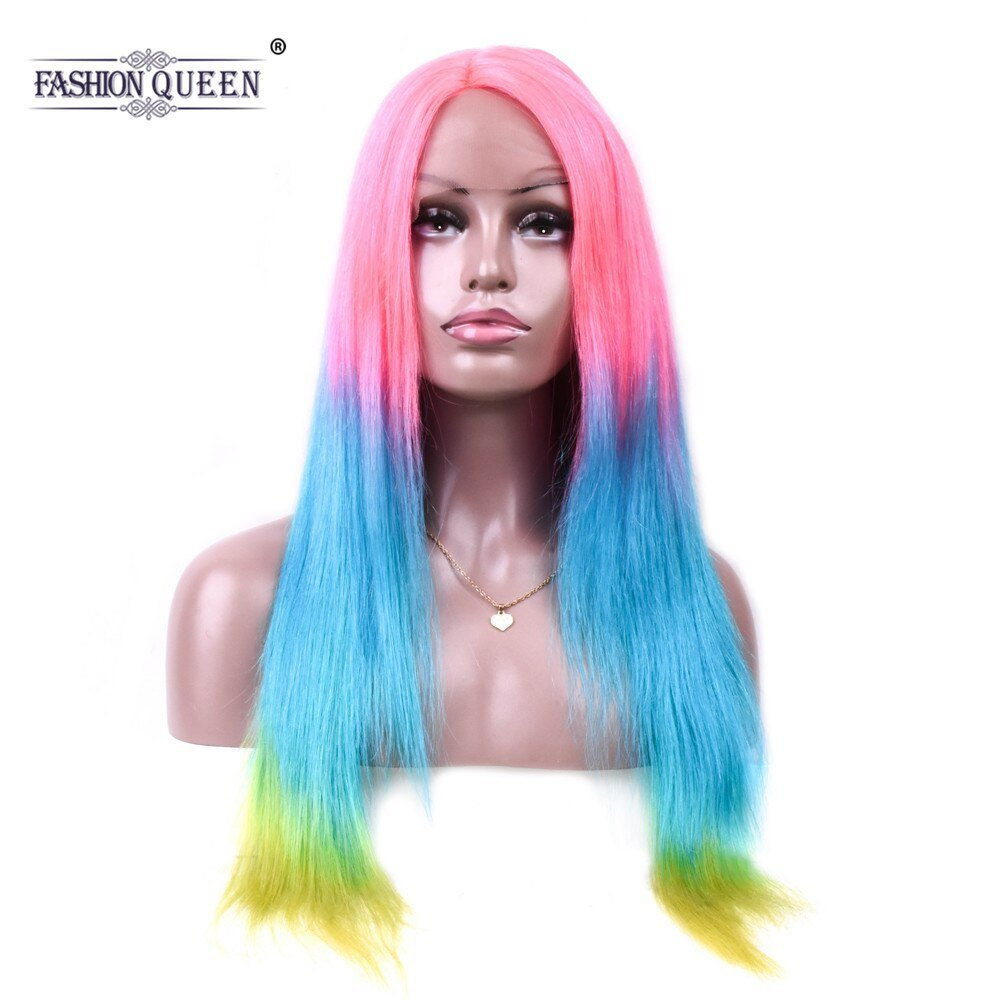 New Pre Colored Pink Blue Green Human Hair Wigs Rainbow Color Ideas With Pictures
