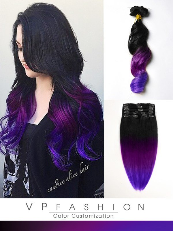 New Black To Purple Mermaid Colorful Ombre Indian Remy Clip In Ideas With Pictures