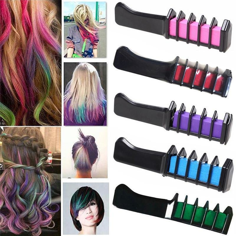 New Colorcomb Temporary Hair Color Brush Set Pack Of 6 Colors Ideas With Pictures