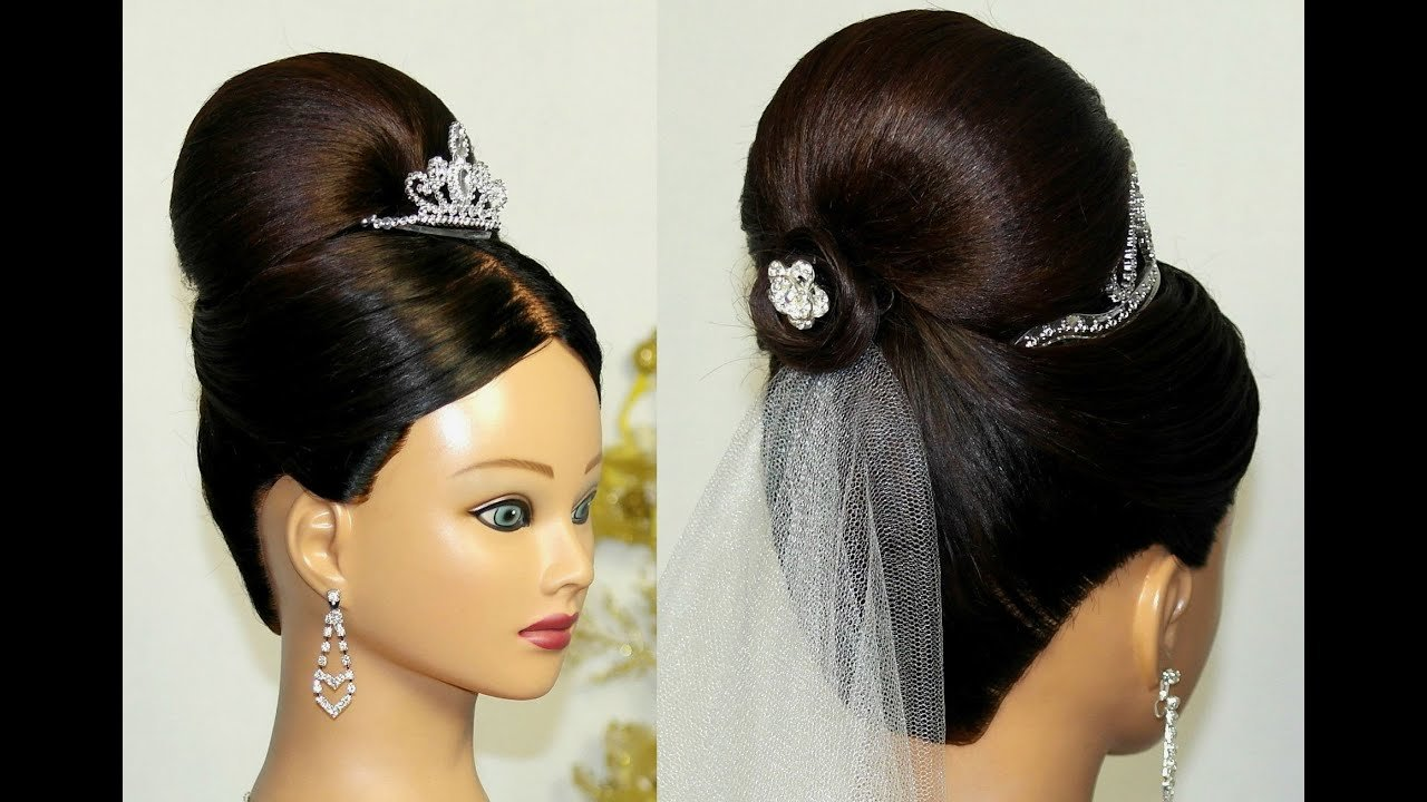 New Bridal Updo Bun Hairstyle For Medium Long Hair Youtube Ideas With Pictures