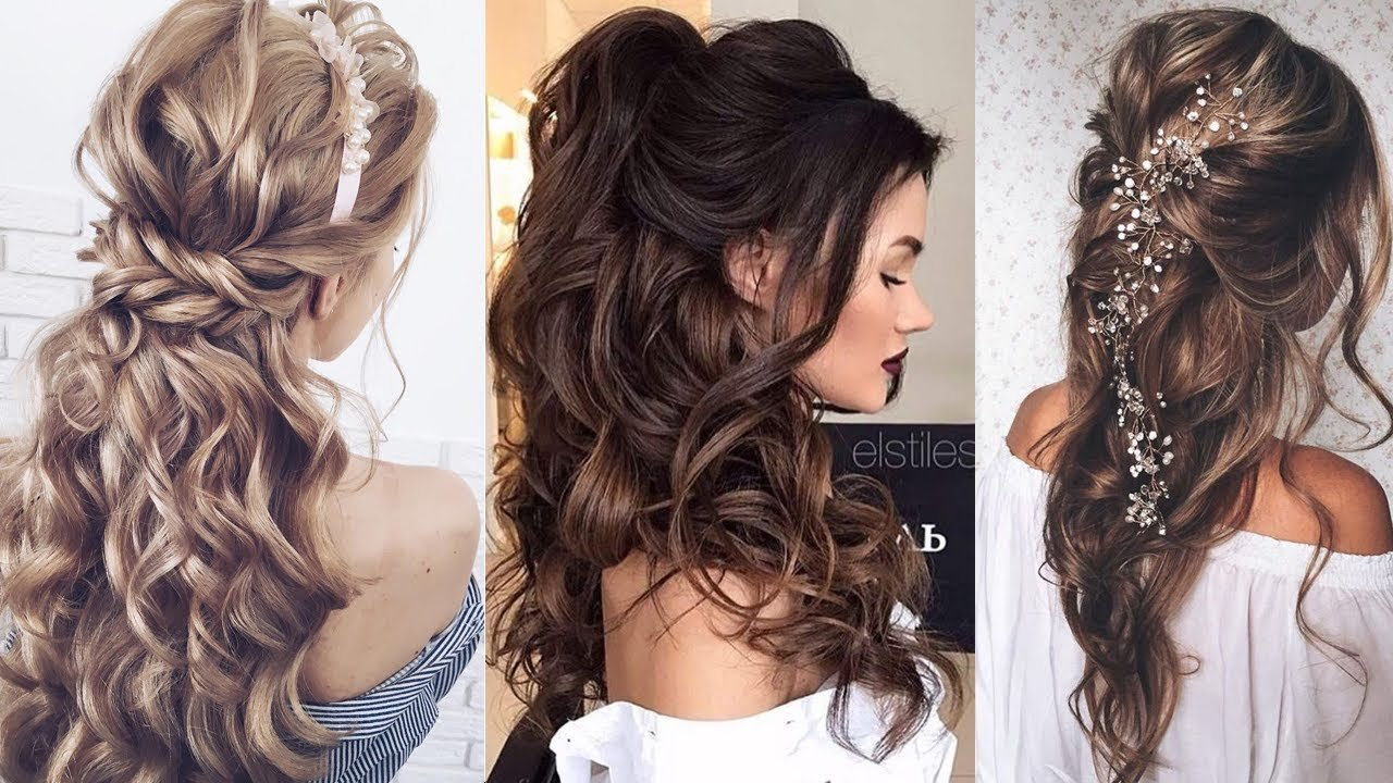 New Half Up Half Down Long Hair Wedding Hairstyles Youtube Ideas With Pictures