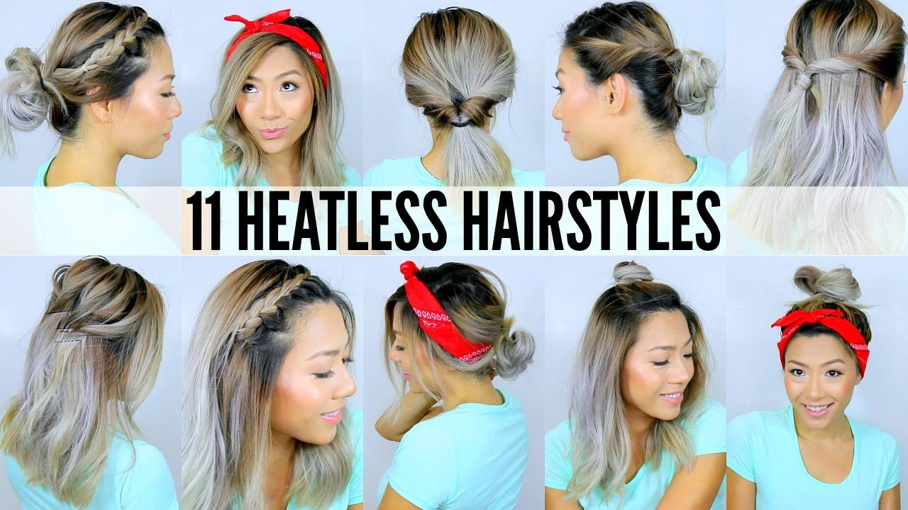New 11 Easy Heatless Hairstyles For Short Long Hair Under 5 Mins Back To School Youtube Ideas With Pictures