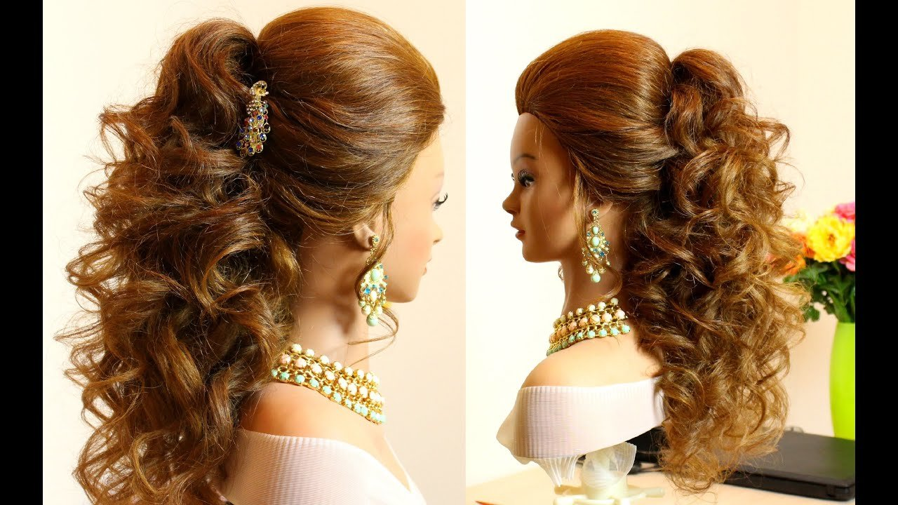New Curly Bridal Hairstyle For Long Hair Tutorial Youtube Ideas With Pictures