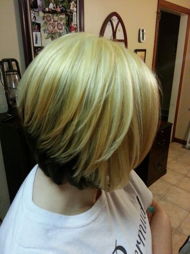 New Blonde On Top And Brown On The Bottom On A Bob Hairstyle Ideas With Pictures