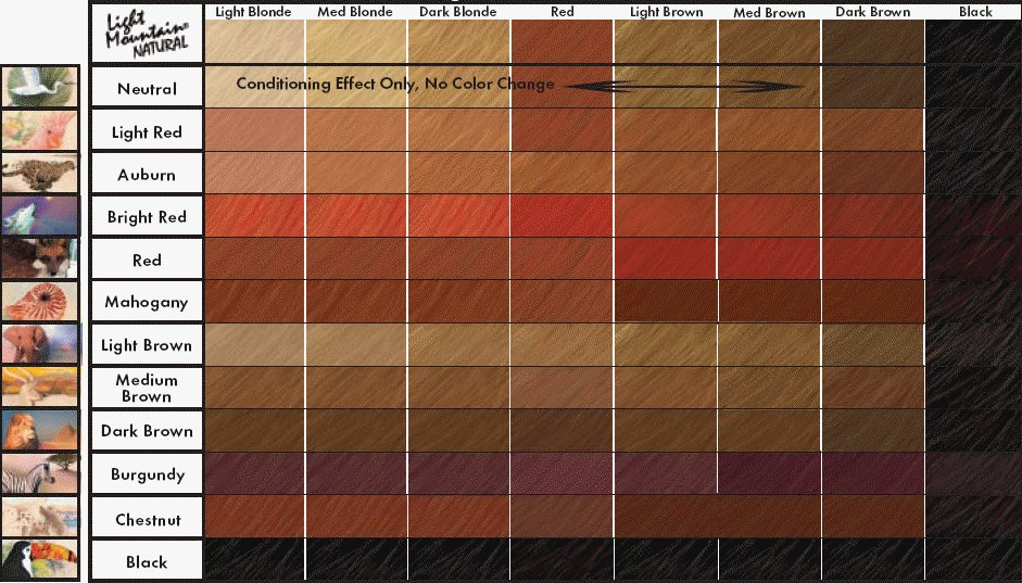 New Light Mountain Natural Color Chart Henna For Hair Ideas With Pictures