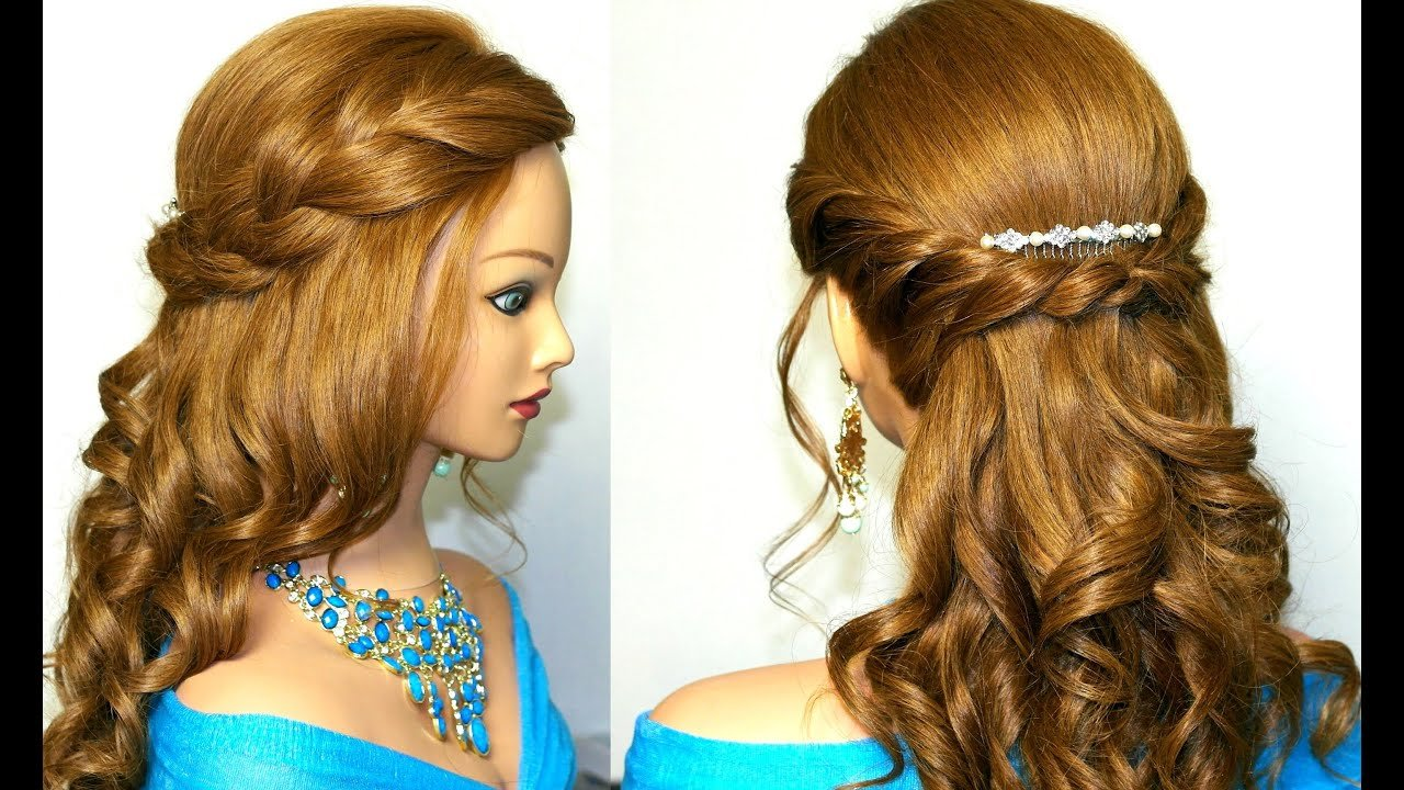 New Curly Romantic Prom Hairstyle For Medium Long Hair Youtube Ideas With Pictures