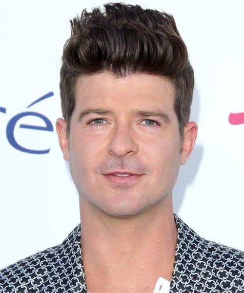 New Robin Thicke Short Straight Casual Hairstyle Dark Ideas With Pictures