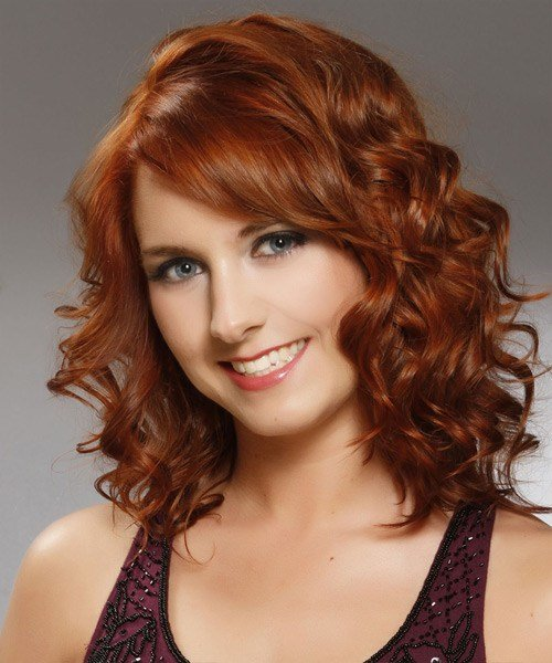 New Medium Curly Formal Hairstyle With Side Swept Bangs Ideas With Pictures