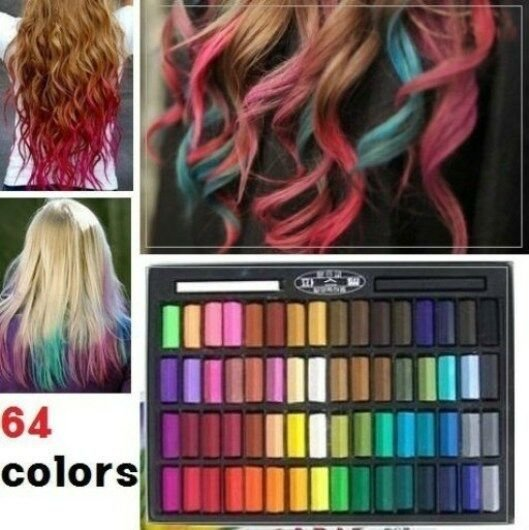 New 64 Color Temporary Color Dye Hair Chalk Pastel Diy Salon Ideas With Pictures