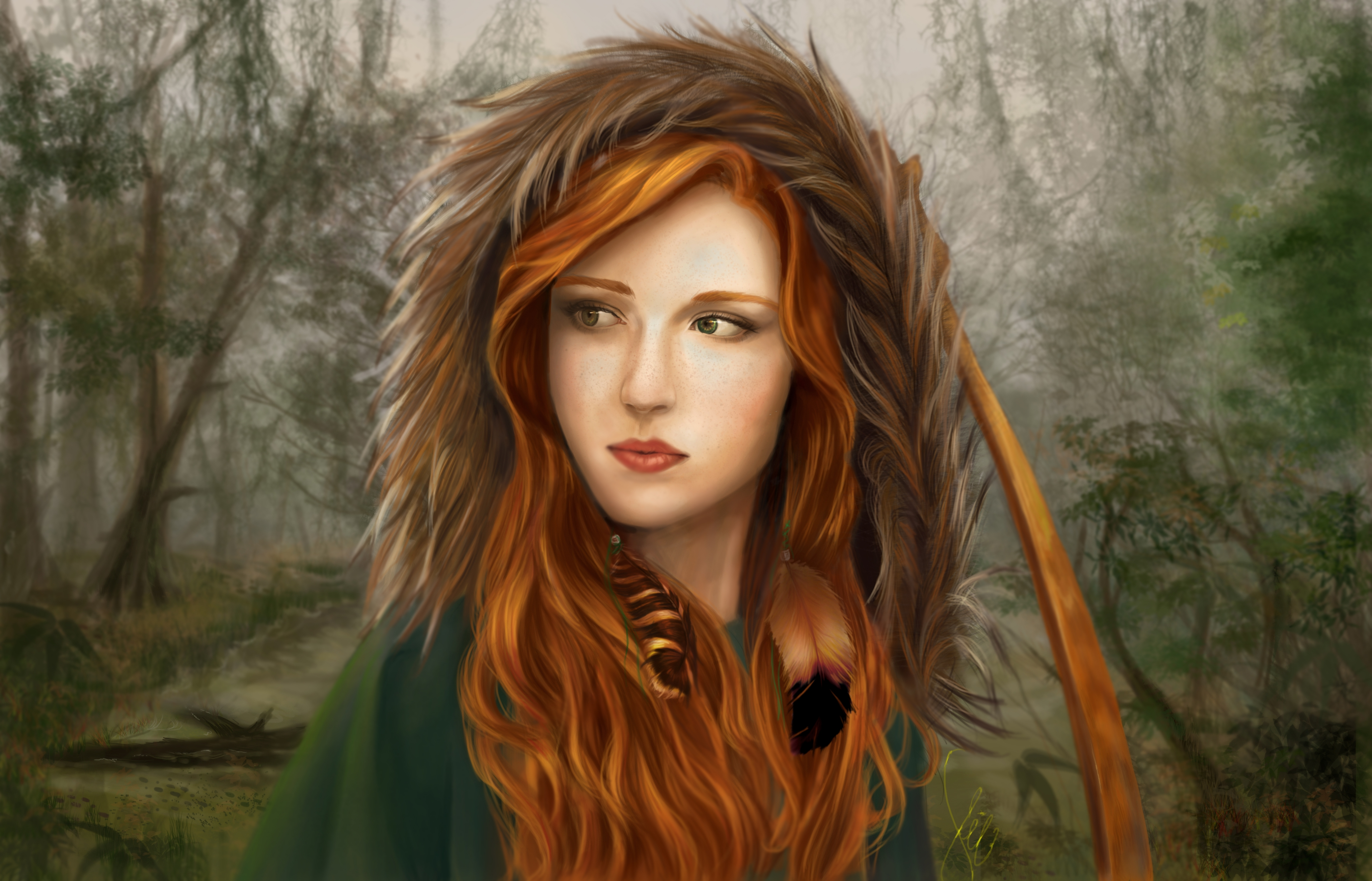 Image result for painting woman in forest
