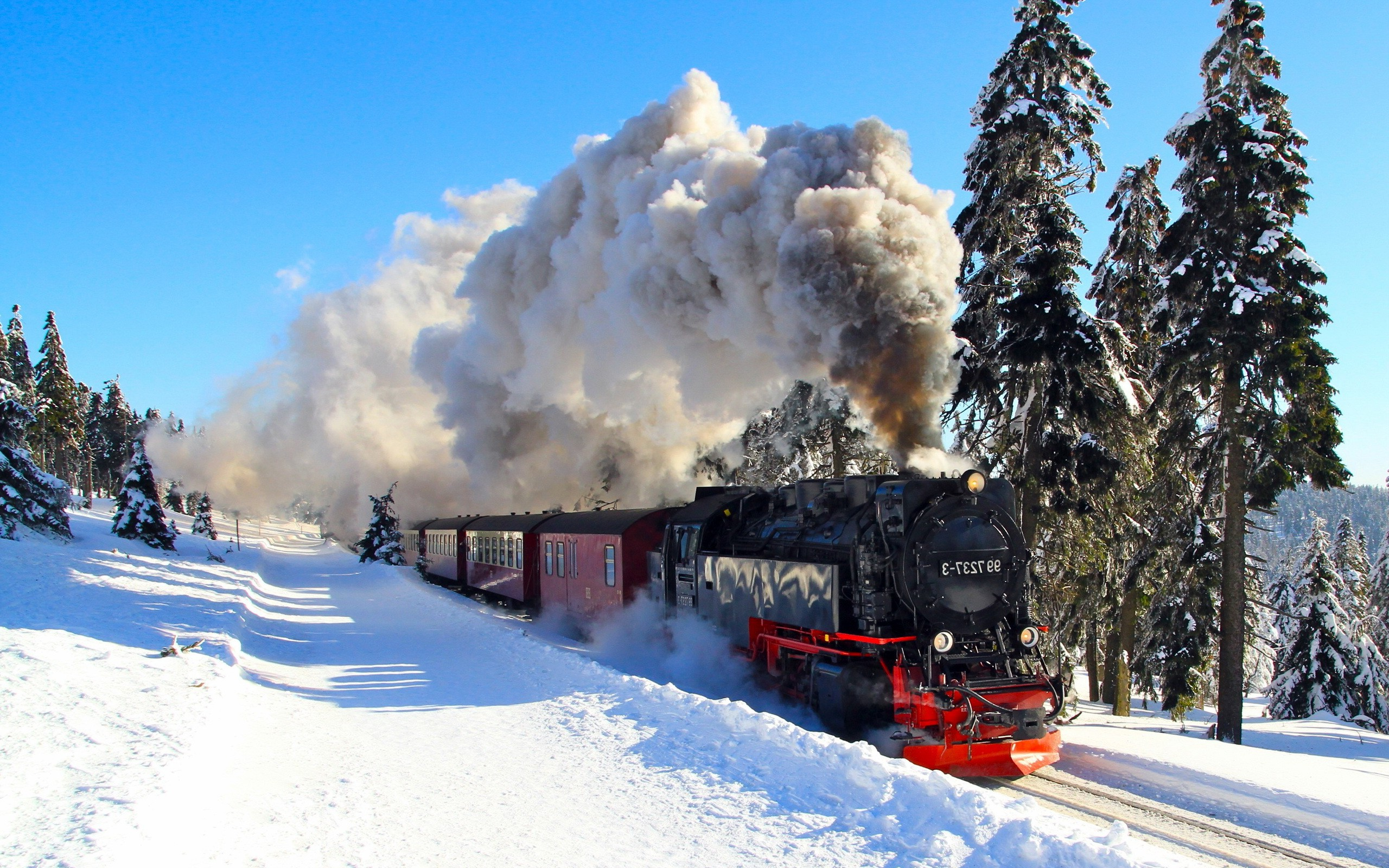 Nature Winter Snow Shadow Train Steam Locomotive