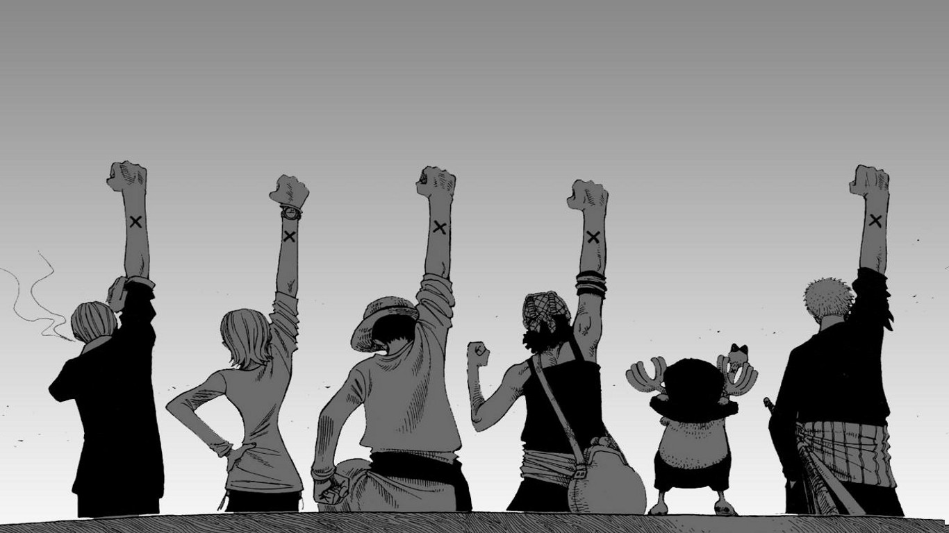 83 one piece laptop wallpapers images in full hd, 2k and 4k sizes. anime, One Piece, Monochrome, Back, White Background, Arms ...