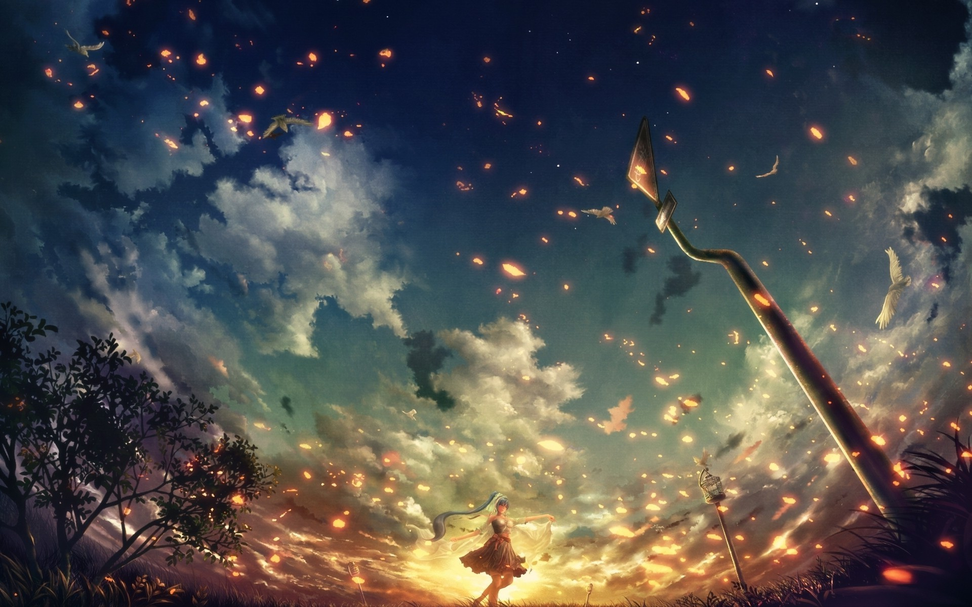 Do you want to change your phone background with awesome 4k anime wallpaper? anime, Blue Hair, Sunset, Embers, Clouds, Vocaloid ...