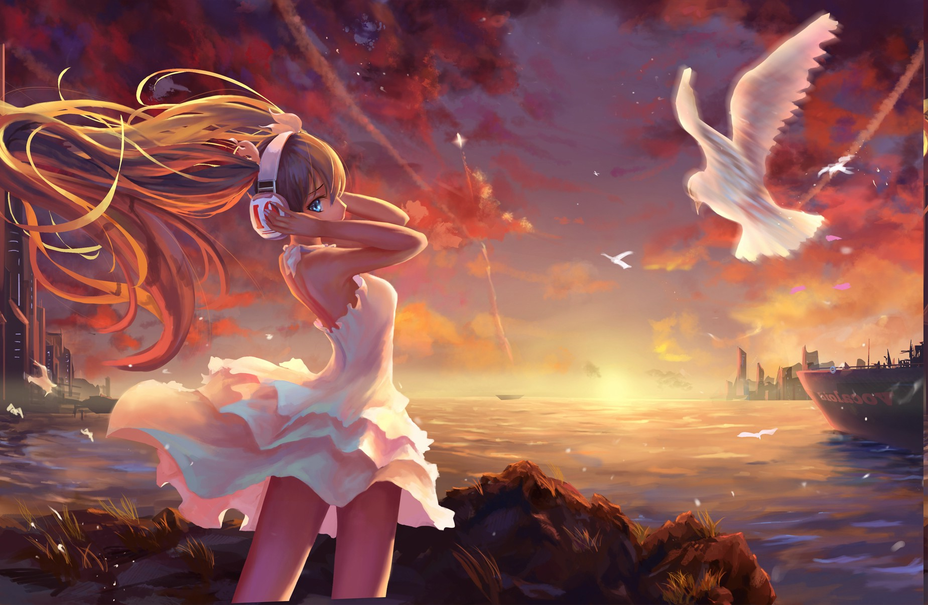 Anime Girls Landscape Painting Twintails Vocaloid