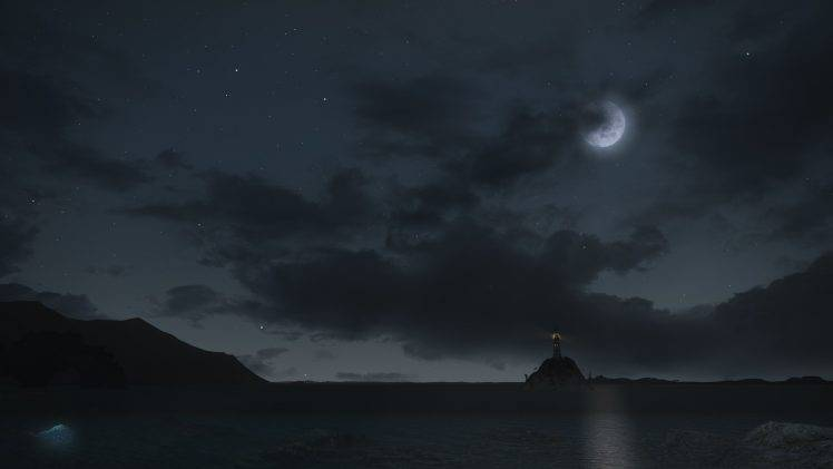Final Fantasy XIV A Realm Reborn Sea Night Lighthouse