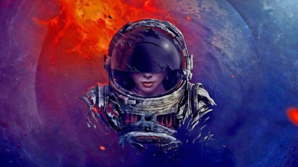 digital Art Astronaut Spacesuit Helmet Universe Space