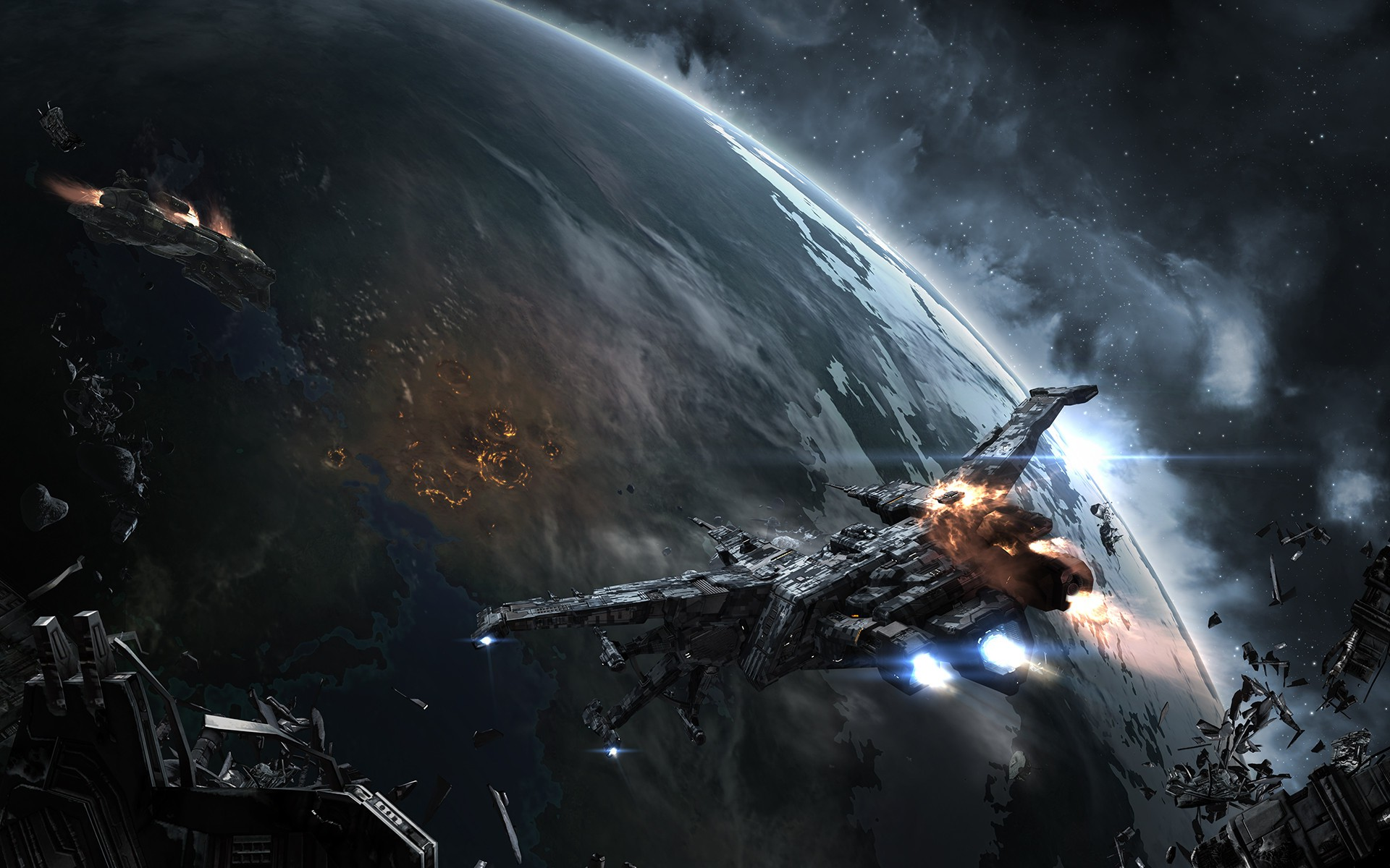 EVE Online Space Spaceship Caldari Space Battle