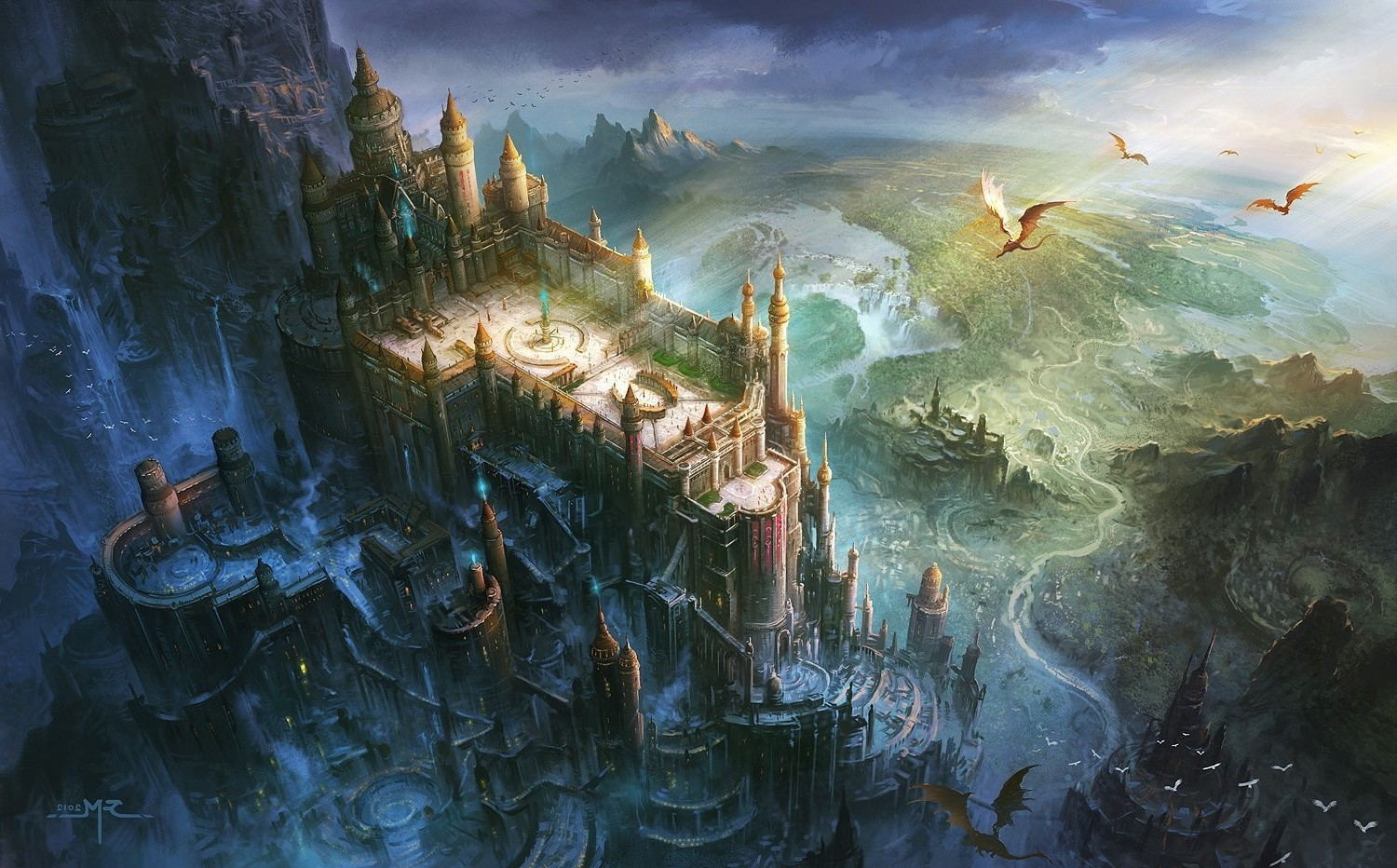 Fantasy Art Dragon Castle Birds Eye View Wallpapers Hd