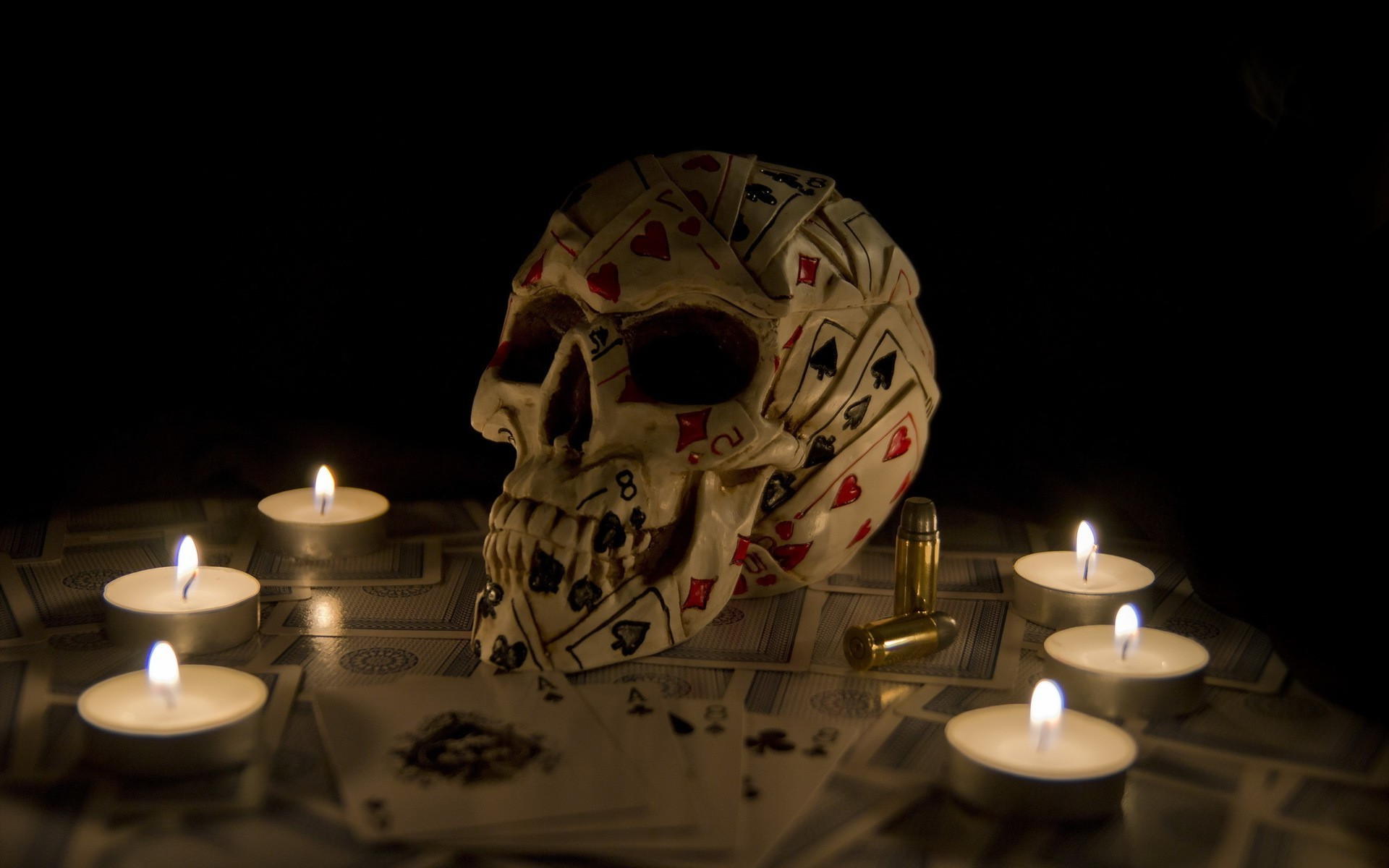 artwork, fantasy art, skull, playing cards, candles wallpapers hd