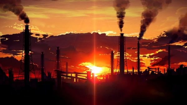 sunset, Factory tubes, Smoke, Industrial Wallpapers HD ...