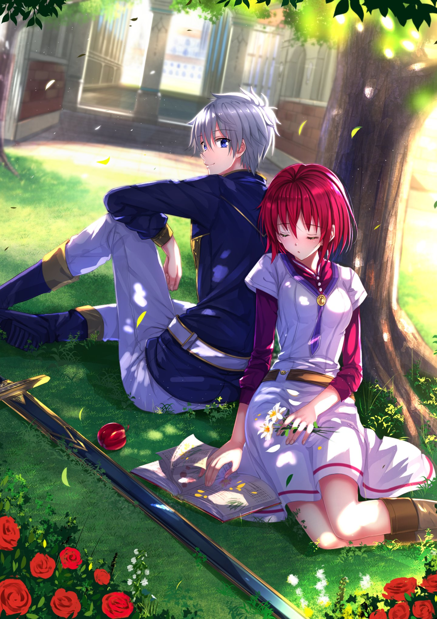Shop our wide selection of animal wallpaper today. anime, Couple, Red, Hair, Tree, Love, Cute, Girl, Boy ...