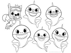 Baby Shark oloring Pages plush video of Wally coloring Baby Shark