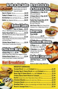 Breakfast and Sandwich Menu