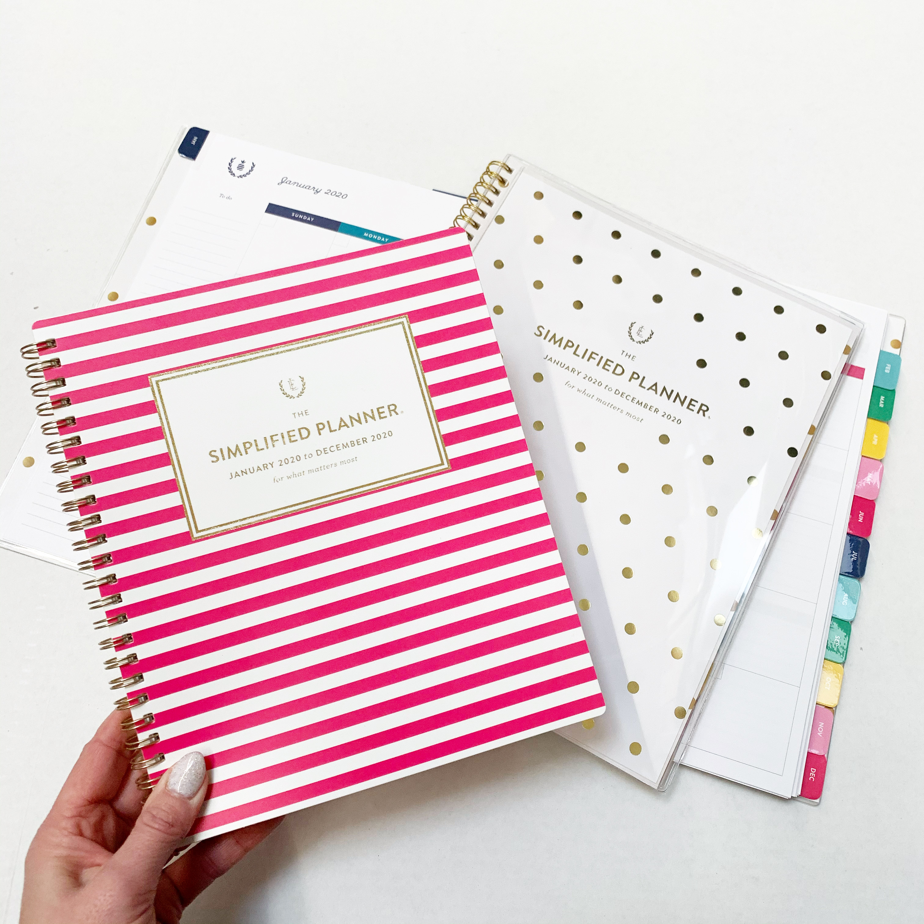 weekly planners pink and white stripes and white with gold dots