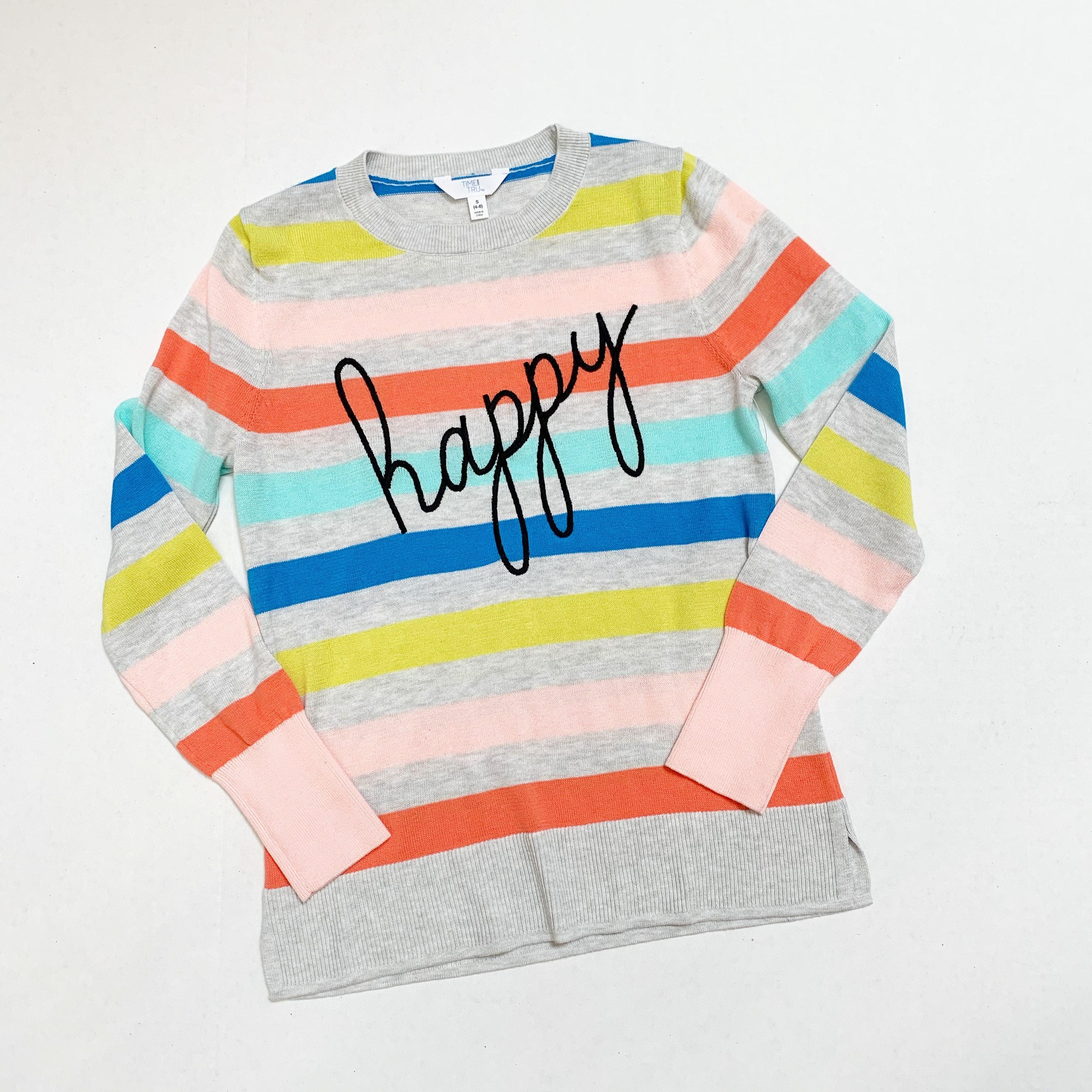 time and tru striped happy sweater