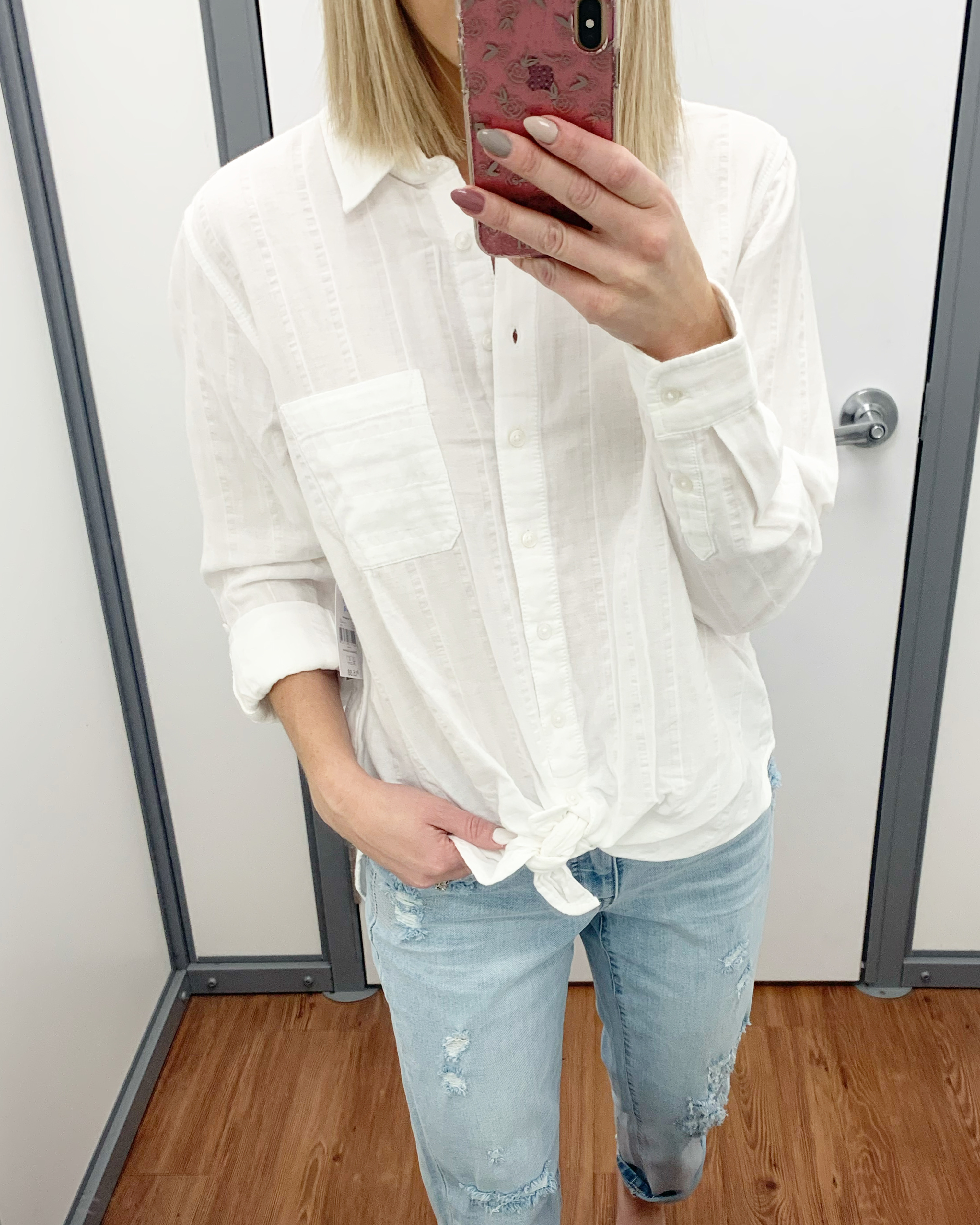 time and tru button up shirt with boyfriend jeans