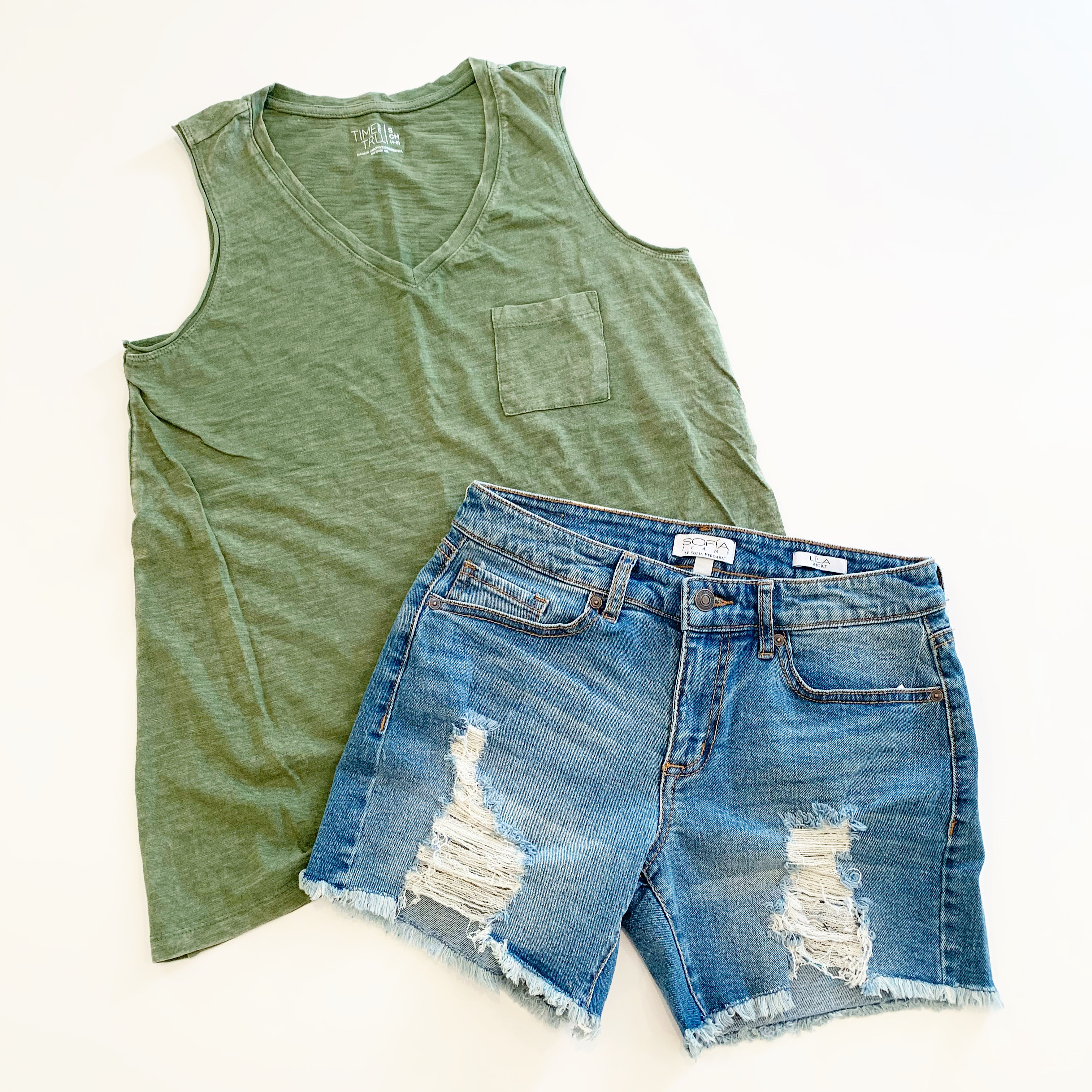 time and tru mineral wash tank and sofia vergara destructed jean shorts