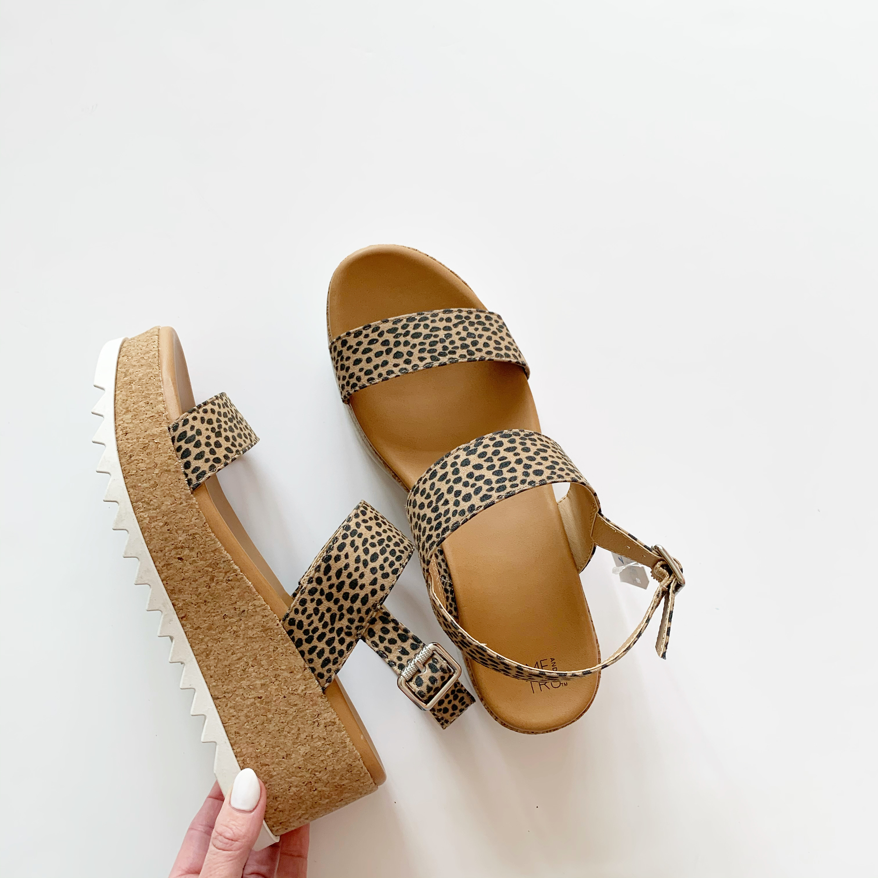 time and tru cheetah print platform sandal